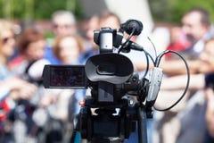 Evento de meios da gravação da câmara de televisão Fotos de Stock