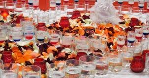 Evento del banquete Tabla con las copas, los bocados y los cócteles metrajes
