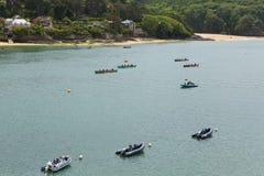 Evento del rowing de Gig Racing del piloto en Salcombe Devon England Reino Unido el domingo 31 de mayo de 2015 fotografía de archivo