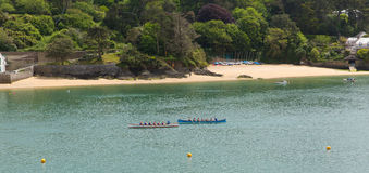 Evento del rowing del carruaje que compite con en Salcombe Devon England Reino Unido el domingo 31 de mayo de 2015 foto de archivo