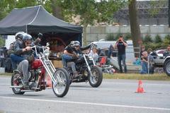 Evento di funzionamento del ciclo di anni settanta, motociclisti degli anni 70 Fotografie Stock
