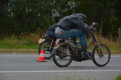 Evento di funzionamento del ciclo di anni settanta, motociclisti degli anni 70 Fotografia Stock Libera da Diritti
