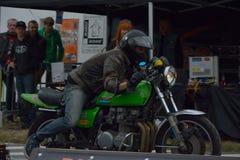 Evento di funzionamento del ciclo di anni settanta, motociclisti degli anni 70 Fotografie Stock Libere da Diritti