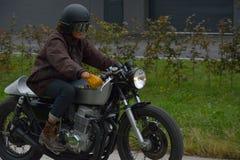 Evento di funzionamento del ciclo di anni settanta, motociclisti degli anni 70 Fotografia Stock