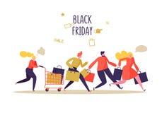 Evento di vendita di Black Friday Caratteri piani della gente con i sacchetti della spesa Grande sconto, concetto di promo, annun Royalty Illustrazione gratis