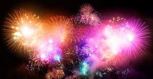 Evento grande de los fuegos artificiales de la celebración del Año Nuevo Imagen de archivo libre de regalías
