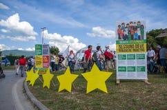 Evento pubblico del partito politico italiano di Movimento 5 Stelle (m5s) Immagine Stock Libera da Diritti