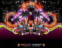 Evento tropical Backgruond da música de Grunge para o disco F Fotografia de Stock Royalty Free