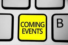 Eventos de vinda da escrita do texto da escrita Significado do conceito que acontece reunião de planeamento logo próxima próximo  imagem de stock