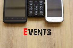 Eventos del concepto del texto de los teléfonos móviles Foto de archivo libre de regalías