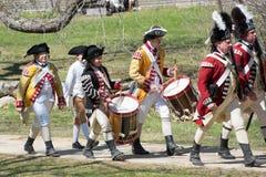 Eventos históricos em Lexington, miliampère do Reenactment, EUA imagens de stock