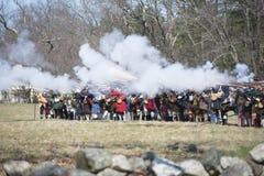 Eventos históricos en Lexington, mA, los E.E.U.U. de la reconstrucción Imágenes de archivo libres de regalías