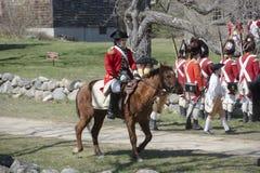 Eventos históricos en Lexington, mA, los E.E.U.U. de la reconstrucción Fotos de archivo libres de regalías