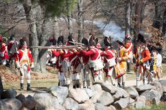 Eventos históricos en Lexington, mA, los E.E.U.U. de la reconstrucción Imagen de archivo libre de regalías