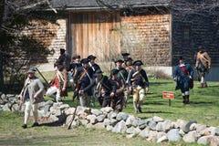 Eventos históricos en Lexington, mA, los E.E.U.U. de la reconstrucción Foto de archivo libre de regalías