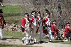 Eventos históricos en Lexington, mA, los E.E.U.U. de la reconstrucción Imagen de archivo