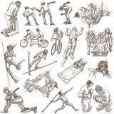 Eventos que se divierten, mezcla del deporte - una colección dibujada mano en blanco Imágenes de archivo libres de regalías