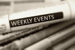 Eventos semanales del título de uno del periódico fotos de archivo libres de regalías