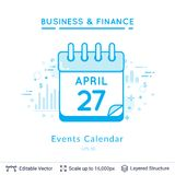 Events calendar symbol on white. Simple design for business financial topic. Vector template easy to edit Stock Photos