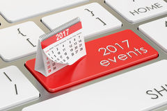 2017 events concept on the keyboard, 3D rendering Royalty Free Stock Photo