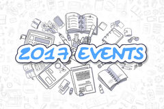2017 Events - Doodle Blue Inscription. Business Concept. Stock Photography