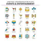 Events and Entertainment Flat Line Icon Set - Business Concept I. Cons Design - This Vector EPS 10 illustration is best for print media, web design, application stock illustration