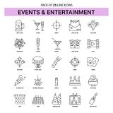 Events and Entertainment Line Icon Set - 25 Dashed Outline Style. This Vector EPS 10 illustration is best for print media, web design, application design user stock illustration