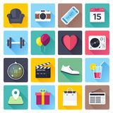 Daily Events Flat Long Shadow Icon Set Royalty Free Stock Image