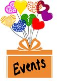 EVENTS on gift box with multicoloured hearts. Illustration concept Royalty Free Stock Images
