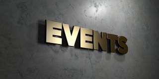 Events - Gold sign mounted on glossy marble wall  - 3D rendered royalty free stock illustration. This image can be used for an online website banner ad or a Stock Photo