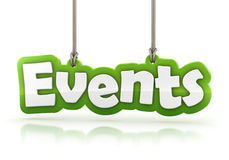 Events green word text  on white background. With clipping path Stock Photography