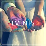 Events. Hands with many colours. Royalty Free Stock Photos