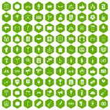 100 events icons hexagon green. 100 events icons set in green hexagon isolated vector illustration Stock Images