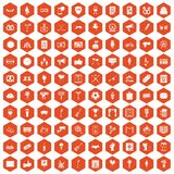100 events icons hexagon orange. 100 events icons set in orange hexagon isolated vector illustration Royalty Free Stock Images