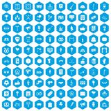 100 events icons set blue. 100 events icons set in blue hexagon isolated vector illustration stock illustration