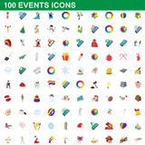 100 events icons set, cartoon style. 100 events icons set in cartoon style for any design vector illustration Stock Photo