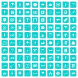 100 events icons set grunge blue. 100 events icons set in grunge style blue color isolated on white background vector illustration stock illustration