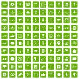 100 events icons set grunge green Stock Images