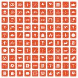 100 events icons set grunge orange. 100 events icons set in grunge style orange color isolated on white background vector illustration Stock Photo