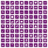 100 events icons set grunge purple. 100 events icons set in grunge style purple color isolated on white background vector illustration Royalty Free Stock Photos