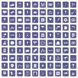 100 events icons set grunge sapphire. 100 events icons set in grunge style sapphire color isolated on white background vector illustration Royalty Free Stock Image