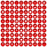 100 events icons set red. 100 events icons set in red circle isolated on white vector illustration Royalty Free Stock Photo