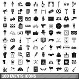 100 events icons set, simple style. 100 events icons set in simple style for any design vector illustration Royalty Free Stock Photography
