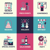 Events icons and symbols. Stock Photos