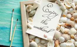 Events Inspirational quote Muscheln, Urlaub, Sommer concept. Events Inspirational quote Muscheln, Urlaub, Sommer lettering for posters writing notebook note Stock Image
