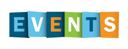 EVENTS overlapping letters banner