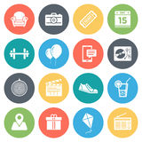 Events and Recreation Minimal Icon Set Stock Photos
