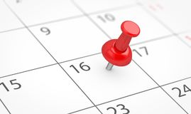 Red Thumbtack Business Note On Calendar Page. Events reminder and deadline concept with a red push pin on a calendar page with blank copy space 3D illustration Royalty Free Stock Image