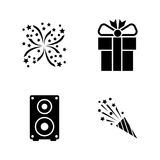 Events. Simple Related Vector Icons. Set for Video, Mobile Apps, Web Sites, Print Projects and Your Design. Black Flat Illustration on White Background Royalty Free Stock Photo