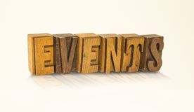 Events Word Block Letters - Isolated White Background Stock Photos